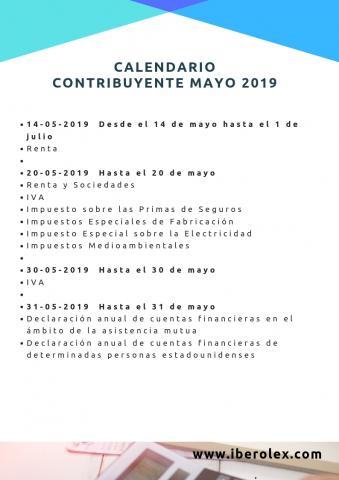 Calendario Financiero 2019.Calendario Del Contribuyente Mayo 2019 Derecho Tic Tac Toe